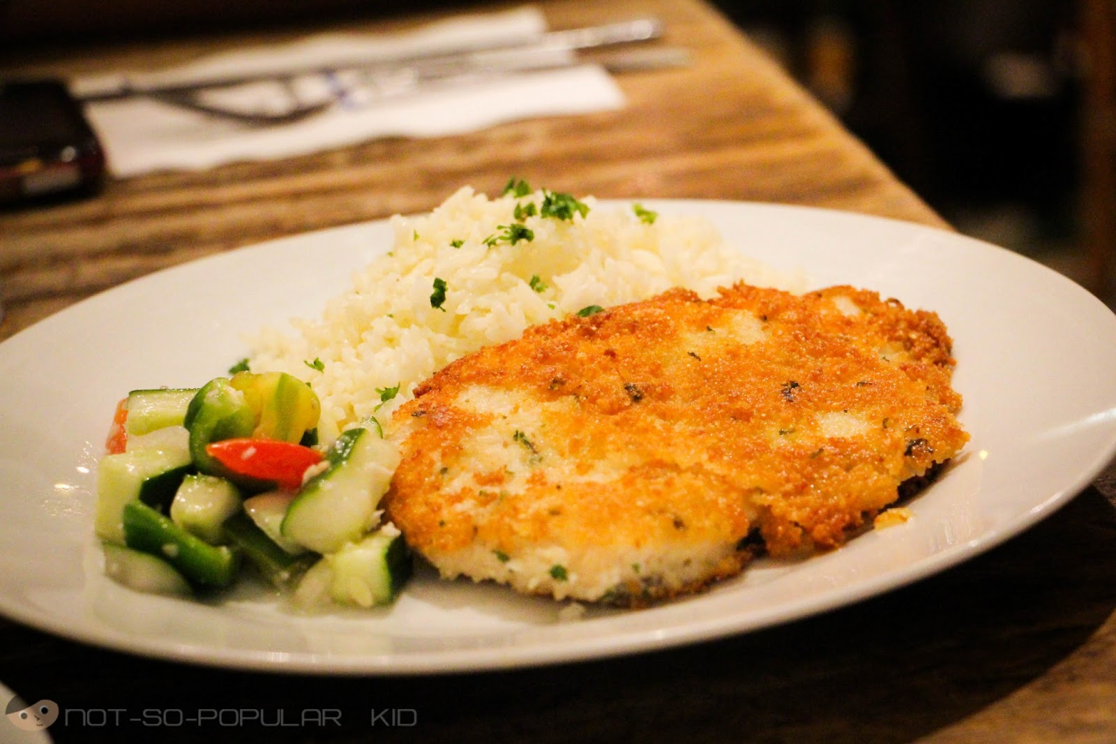 The cafe mediterranean flavors of the sun a not so for Parmesan crusted fish