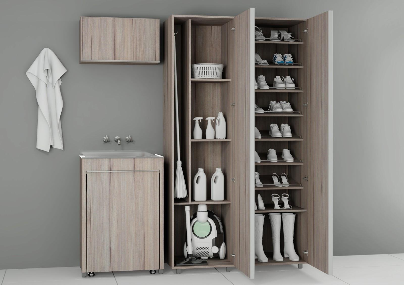 Banheiros com estilo dicas para rea de servi o e - Organizador de lavanderia ...