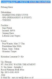 Lowongan Kerja PT. PACIFIC WATER TREATMENT