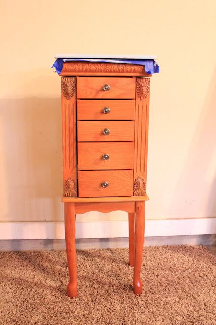oak jewlery armoire, CeCe Caldwells Chalk Paint, Memphis Blue