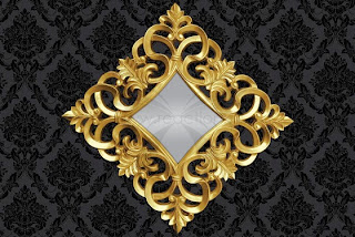 luxusne zrkadlo na stenu v zlatej farbe