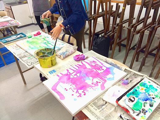 横浜美術学院の中学生教室 美術クラブ 絵の具課題「絵の具のシミから描写しよう!」8