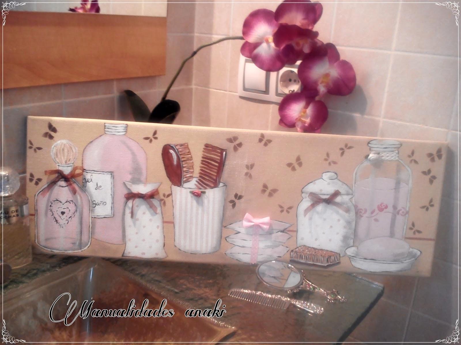 Manualidades anaki cuadro ba o en rosa - Cuadros de cuarto de bano ...