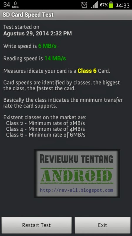 hasil test- Aplikasi android SD-Card Speed Test untuk mengecek kecepatan memori dan mengetahui kelasnya (rev-all.blogspot.com)
