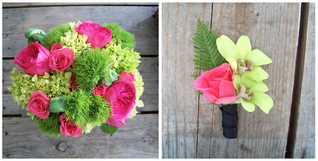detroit wedding florist brides bouquet, boutonniere, hot pink bright green sweet pea floral design hydrangea garden rose ranunculus fern scented geranium parrot tulip sweet pea rustic reclaimed wood coffee table michigan wedding flowers spring spray roses