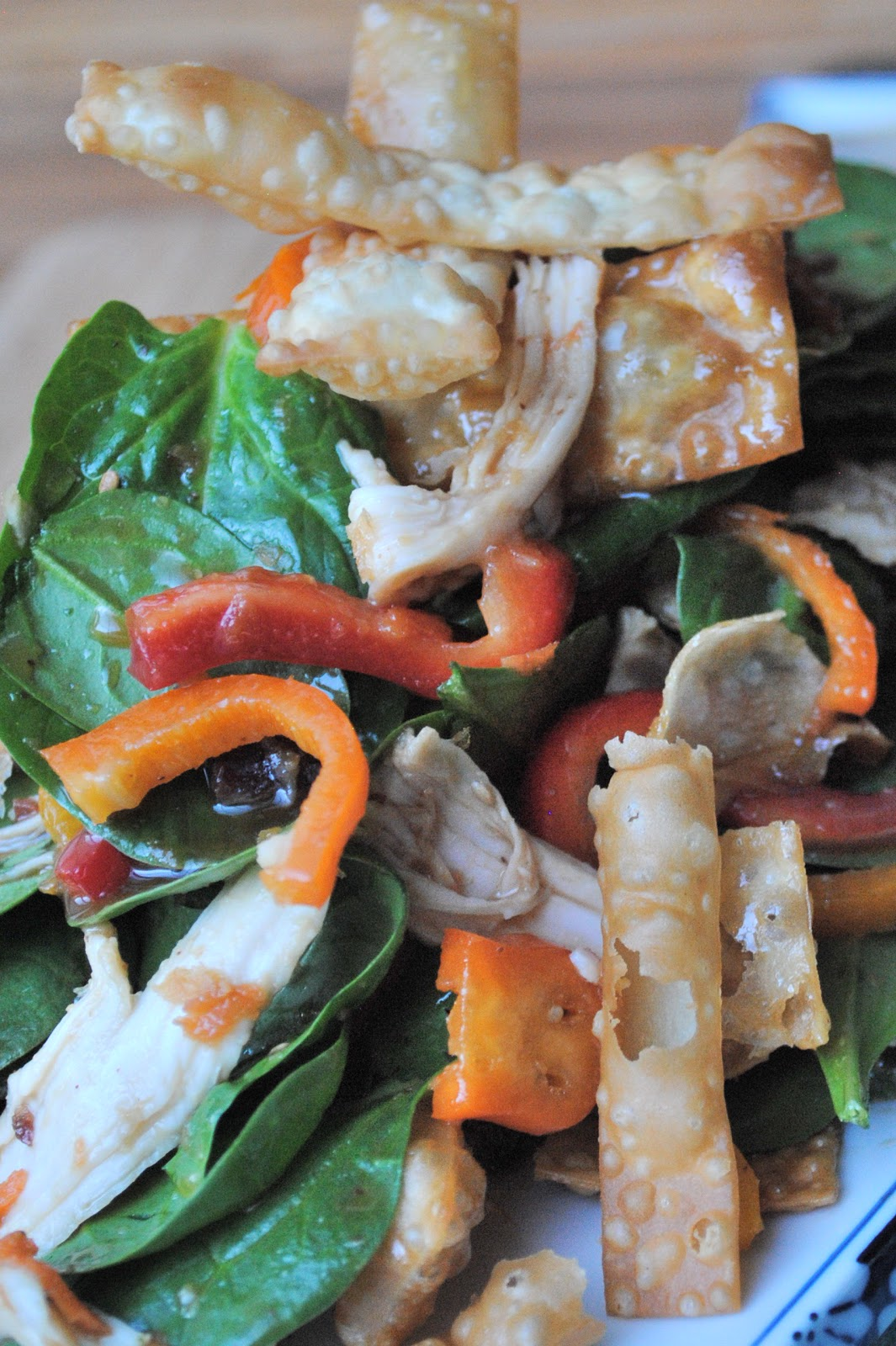 Chicken Wonton Spinach Salad - The Kitchen McCabe
