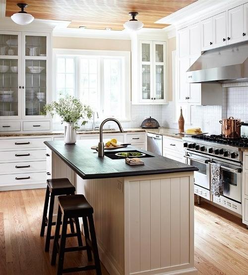 Apartamento dia a dia inspira o para uma cozinha de ilha - Cucine stile americano ...