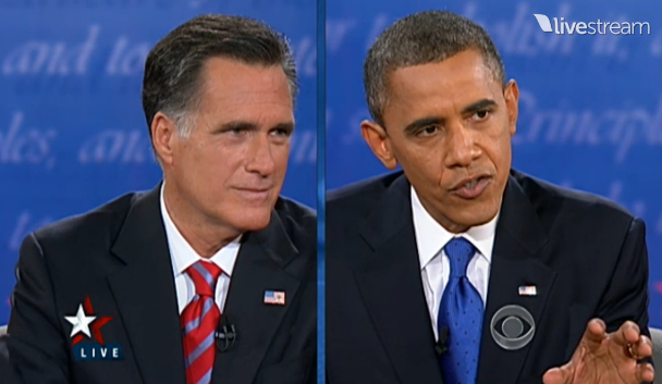 photo of Presidential debate between Romney and Obama
