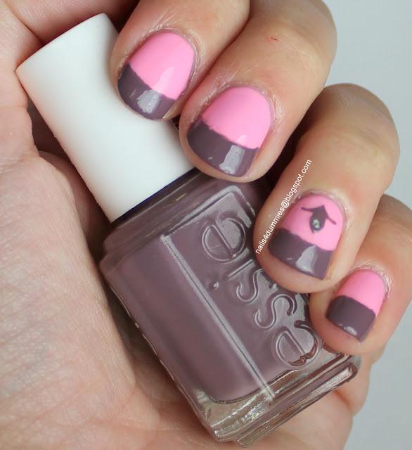 Pink and grey mani