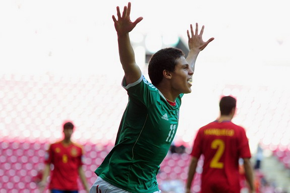 Mexico U-20 player Arturo González celebrates after scoring a goal against Spain U-20