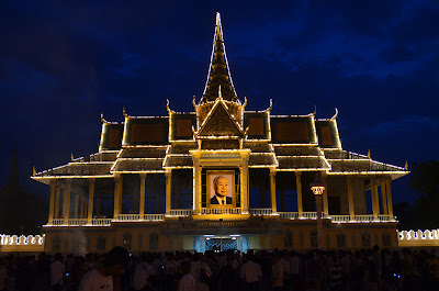 Death of King Norodom Sihanouk, Royal Palace alight, Phnom Penh, Cambodia