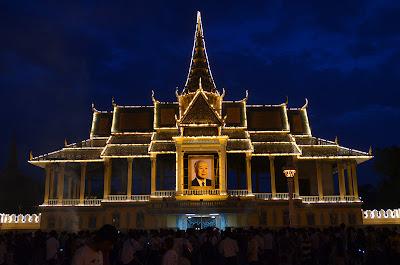 Death of King Norodom Sihanouk, Royal Palace alight, Phnom Penh, Cambodia