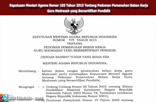 Keputusan Menteri Agama Nomor 103 Tahun 2015 Tentang Pedoman Pemenuhan Beban Kerja Guru Madrasah yang Bersertifikat Pendidik