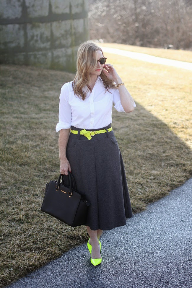 chicwish skirt, kate spade heels, loft tunic, jcrew yellow belt, michael kors handbag