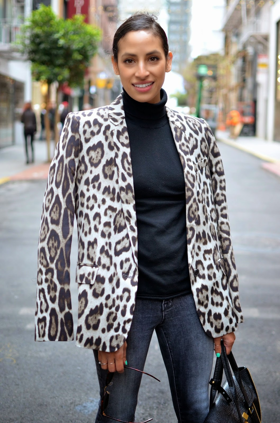 leopard print blazer, black turtleneck, SF street style, SF style blogger, SF fashion blogger, Maiden Lane, grey distressed denim, J. Brand denim, Jean Michel Cazabat heels, 3.1 Phillip Lim Pashli