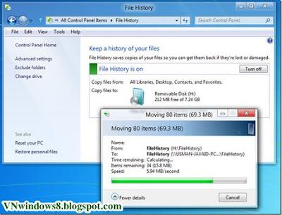 Các bước Sao lưu dữ liệu tự động trong Windows 8?