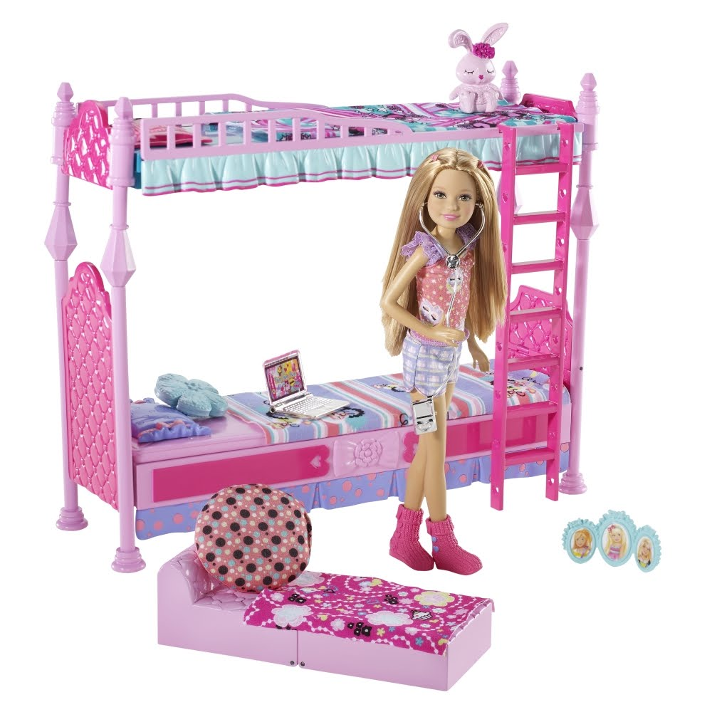 barbie en la princesa y la cantante barbie y su familia cama para tres con stacie. Black Bedroom Furniture Sets. Home Design Ideas