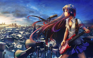 Girl Female Singing Headset Guitar Anime HD Wallpaper Desktop PC Background 1794
