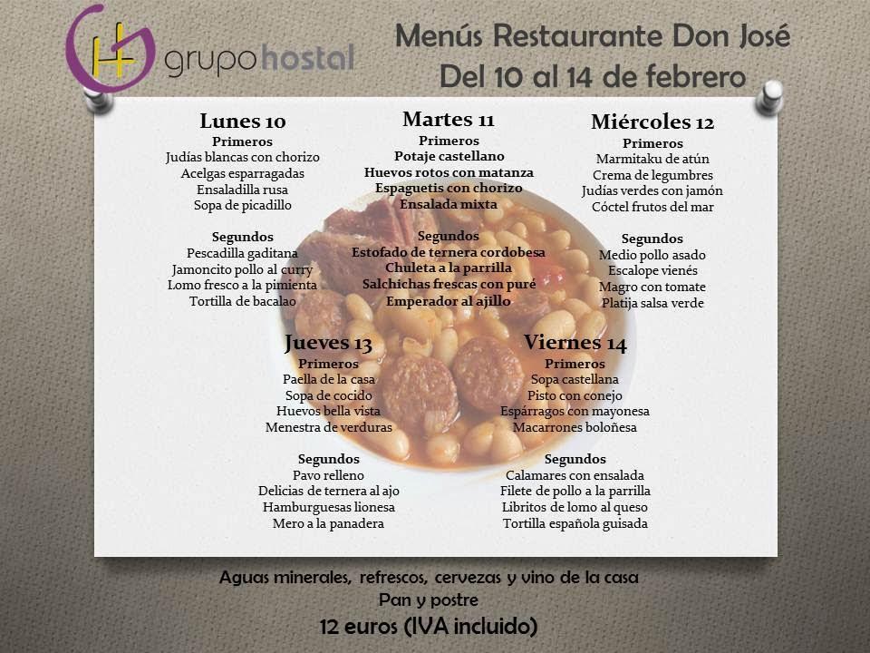 Menú del día en Don José Torrejón