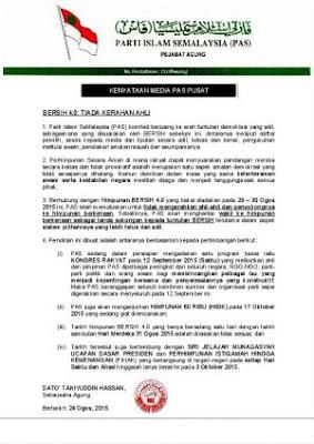 Tiada kerahan ahli Pas ke Bersih 4.0
