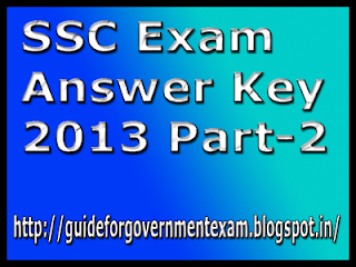 SSC Exam Answer Key 2013
