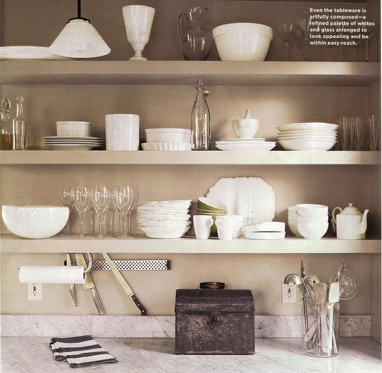 Open shelving can be a very chic and economical alternative to ...