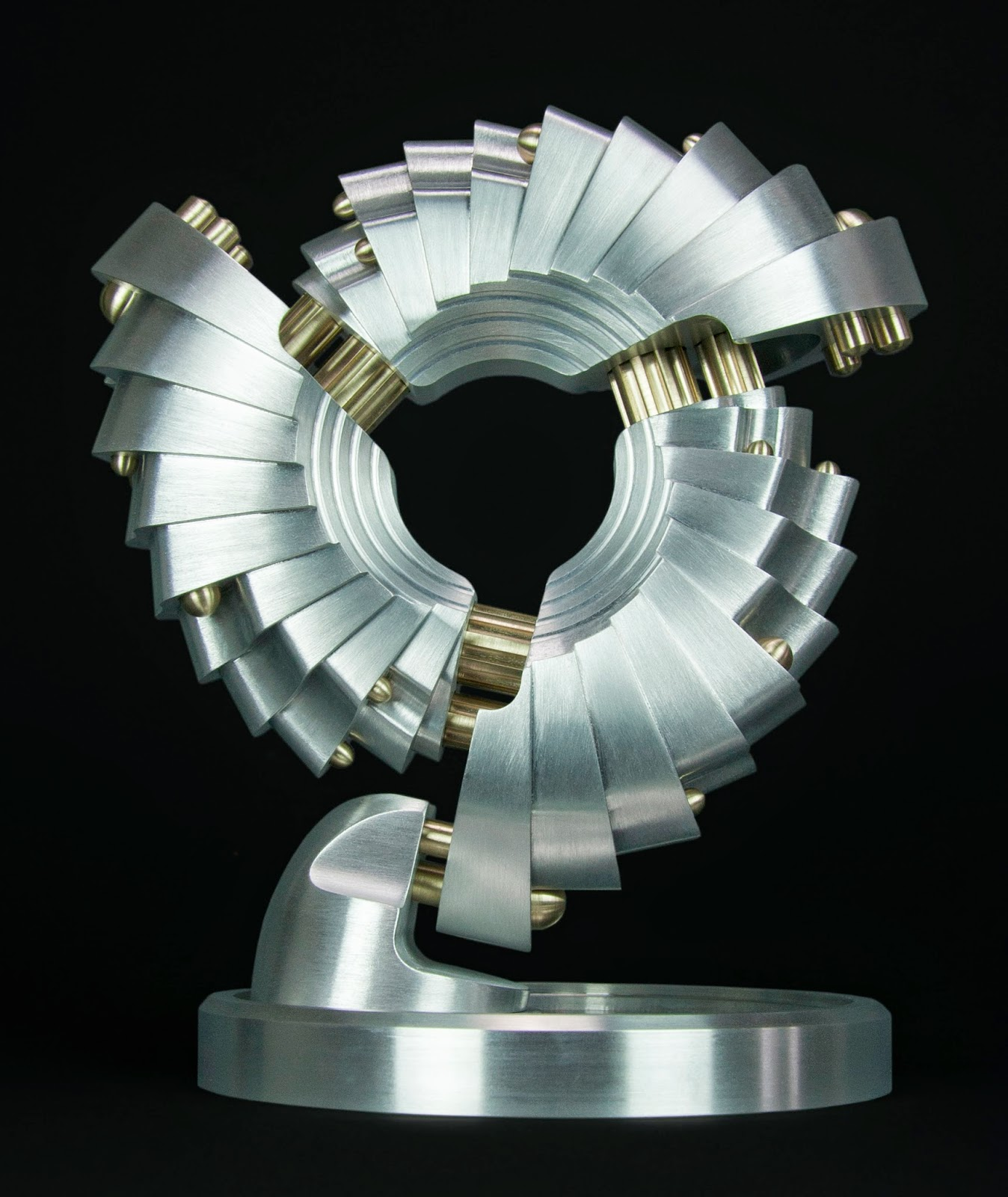 machine art, machined metal sculpture, Abstract metal art