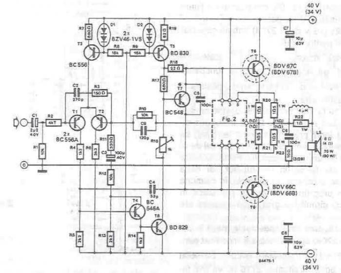 70  u00e0 90 watts amplificateur audio