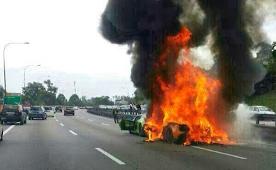 3 LAMBORGHINI TERBAKAR DI HIGHWAY VIDEO INSIDE