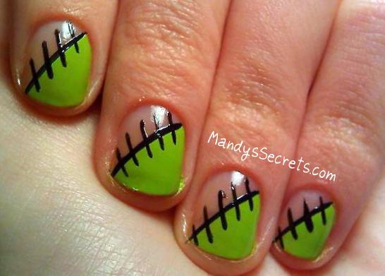 NAIL ART -- Zombie/Frankenstein Nails - Nail Art Zombie Nail Art Designs