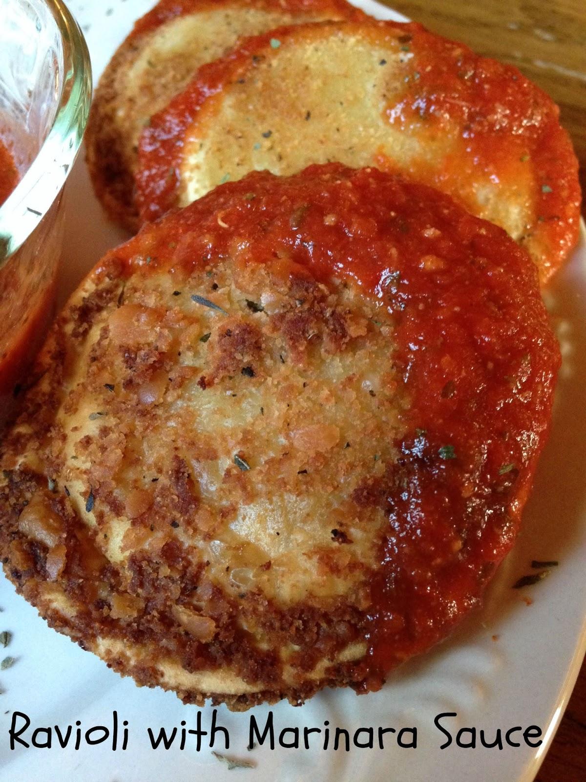 Turnips 2 Tangerines: Toasted Ravioli with Marinara Sauce