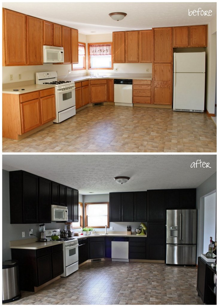 gel stain kitchen cabinets before after