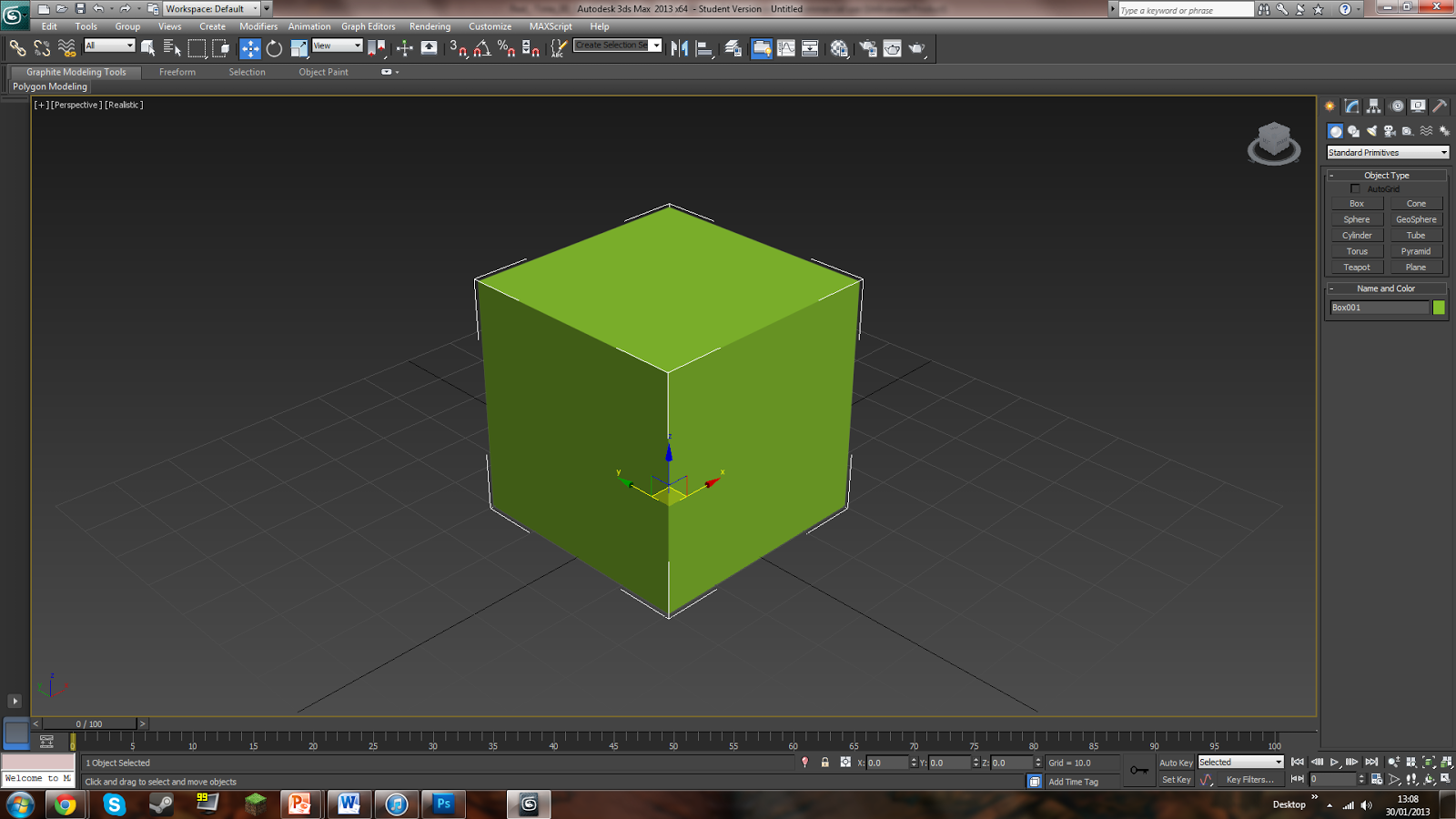 next i created a plain cube in 3ds max on which i will be applying the palm texture and normal map