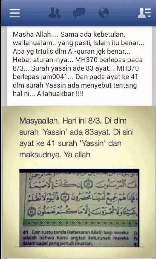 MH 370: Al-Quran bukan untuk menilik!