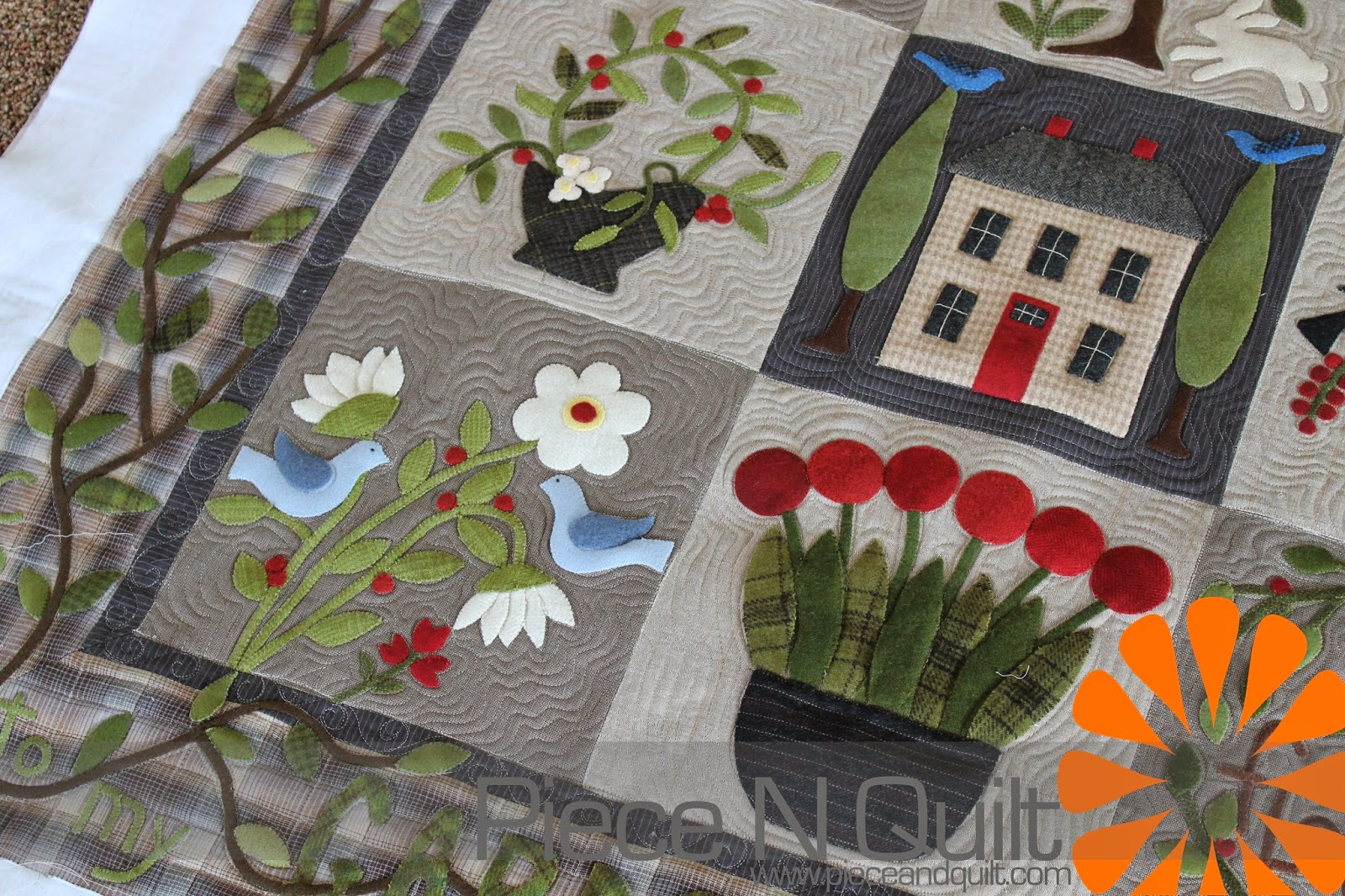 Piece N Quilt: June 2014 : machine quilting around applique - Adamdwight.com