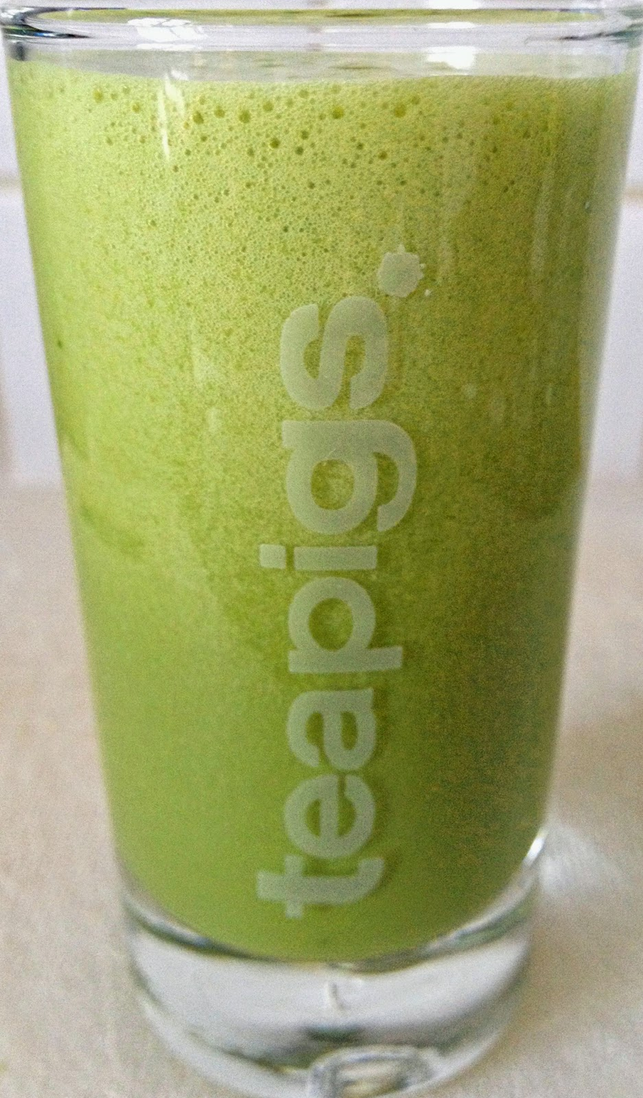 ThatRedheadSaid : super-power matcha shot in teapigs shot glass