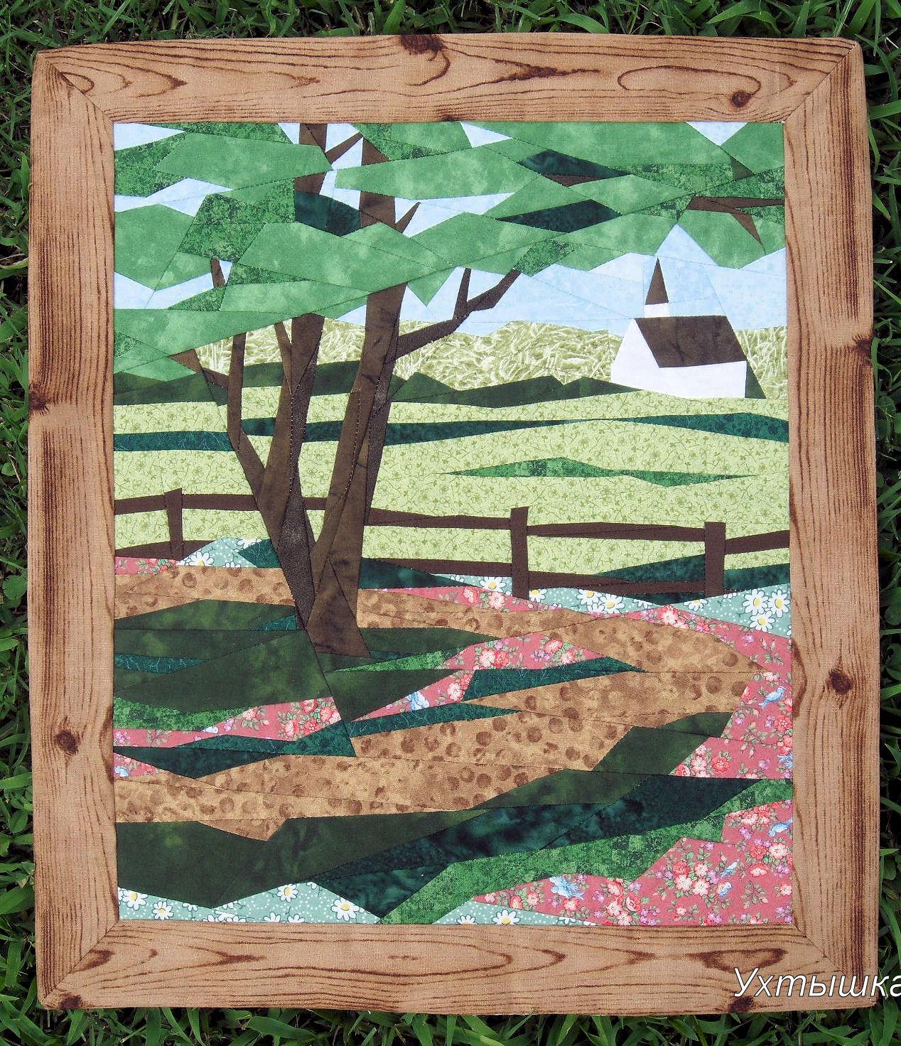 Деревенская дорога - картина пэчворк