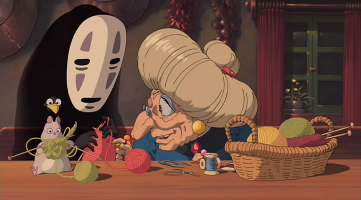 The witch Yubaba in Spirited Away 2001 animatedfilmreviews.filminspector.com