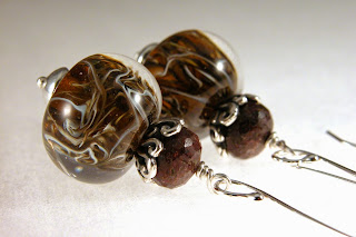 Chocolate Wispies - Artisan lampwork, chocolate quartz and sterling silver