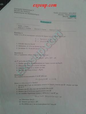 Evaluation Algèbre 2 fsr Rabat maroc