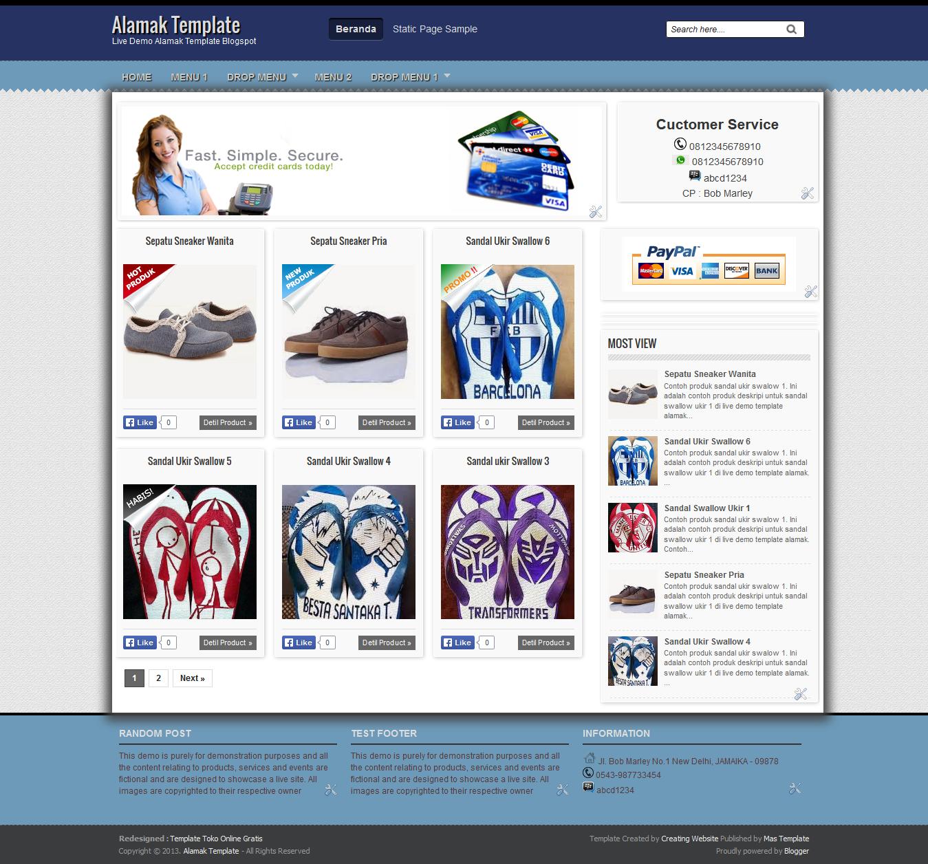 toko online blogspot dengan template alamak