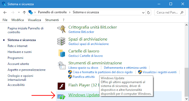 Windows Update in Pannello di controllo Windows 10