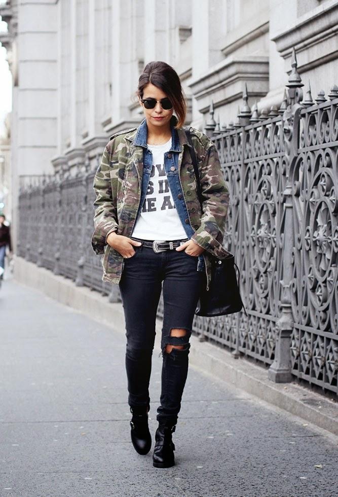jaqueta camuflada, jaqueta jeans, calça feminina preta, bota feminina, roupas, estio militar