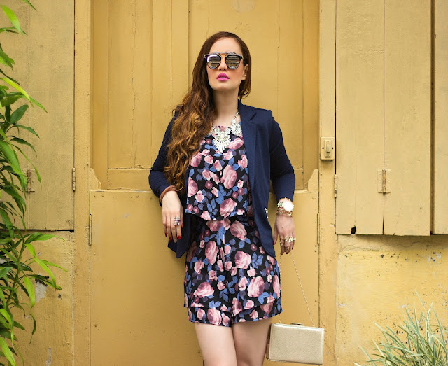 ONLY Floral Printed Playsuit, Romper, Navy Blue Blazer, Mirrored Sunglasses