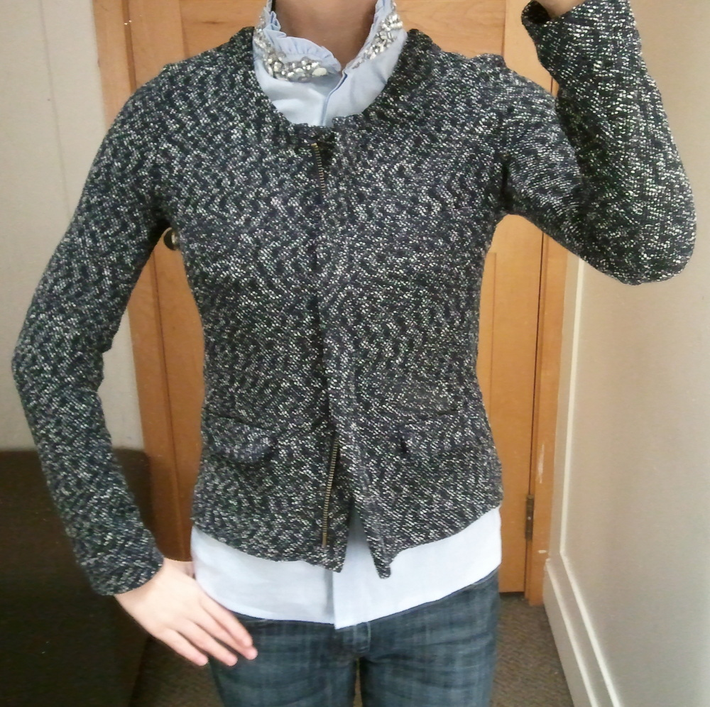J.Crew Micro-Tweed Jacket in Navy and Tilda Oxford Rhinestone Top