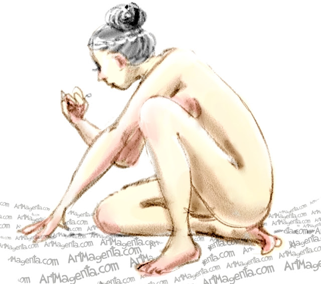 Losing your eye lenses is a life drawing by Artmagenta