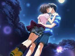 Foto Kartun Ciuman dibawah sinar bulan purnama
