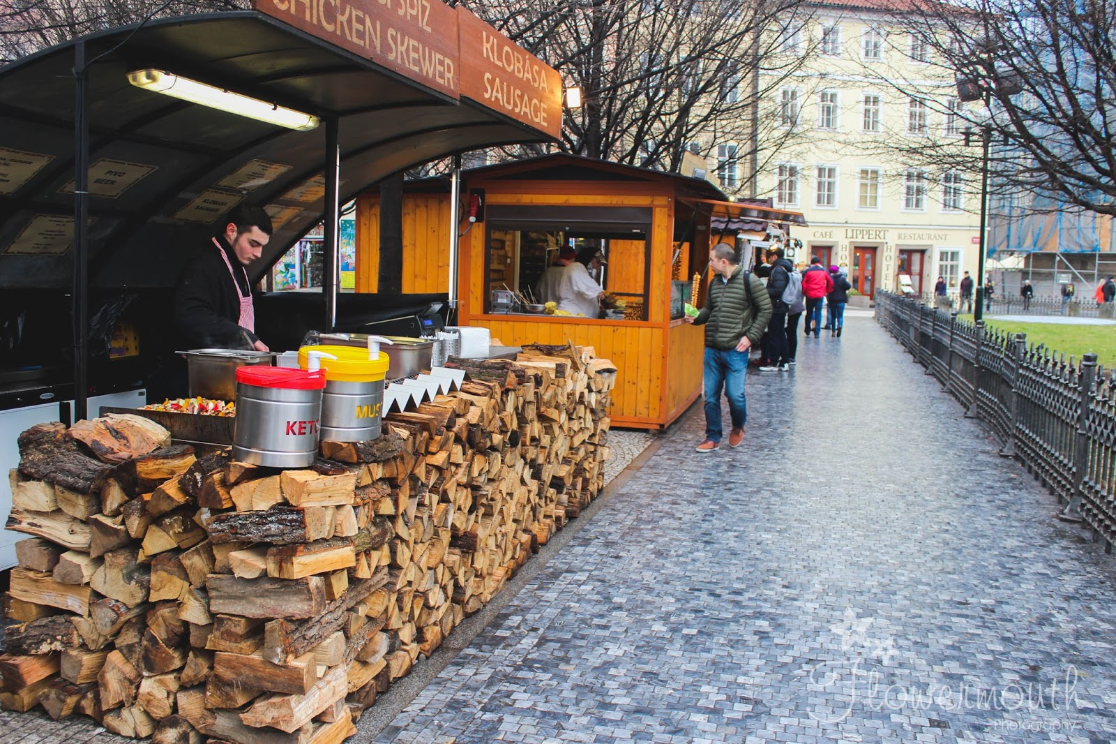 Food stalls in Prague's Old Town square