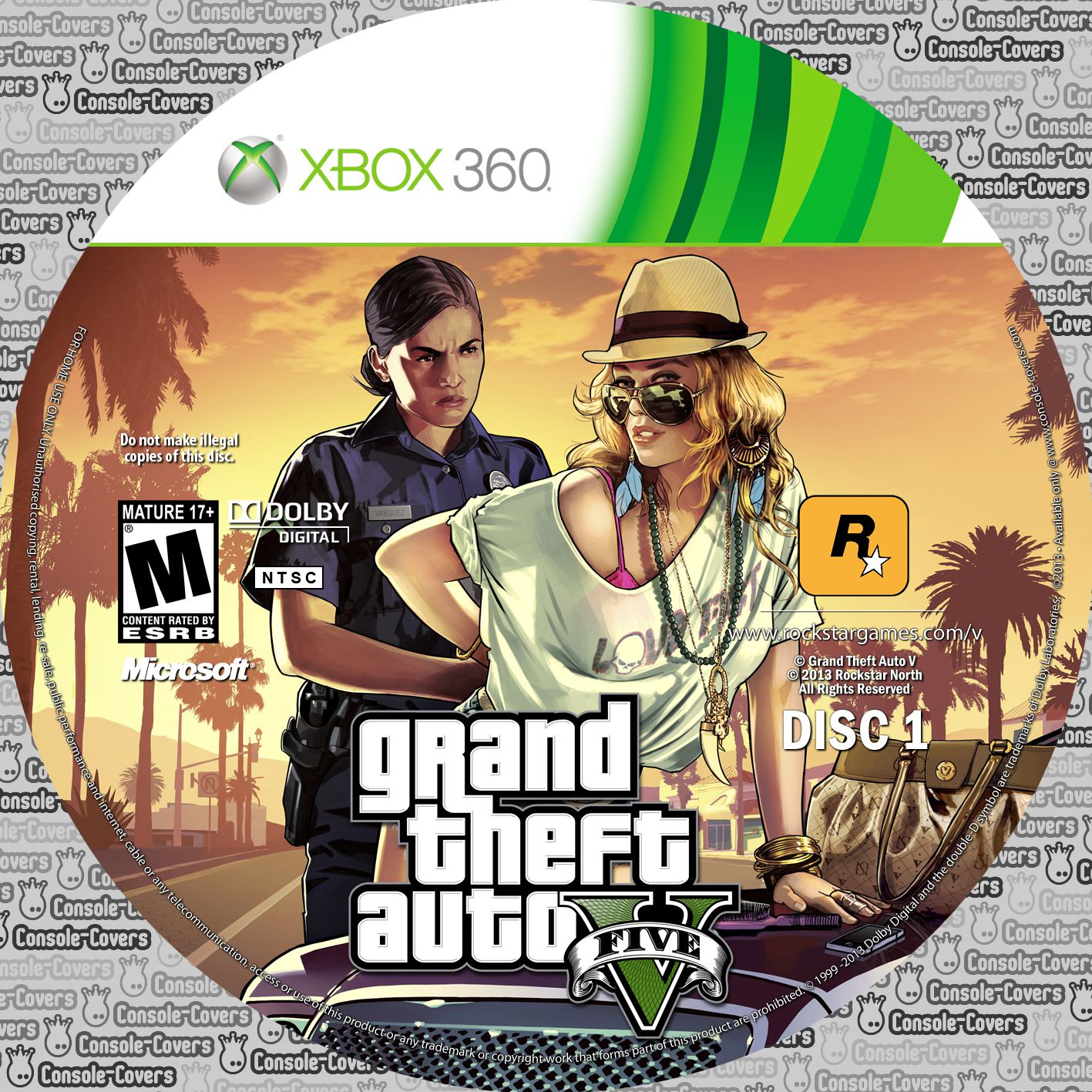 label grand theft auto gta 5 xbox 360 gamecover capas. Black Bedroom Furniture Sets. Home Design Ideas