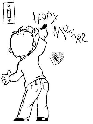 Niño escribiendo en pared para colorear ~ 4 Dibujo
